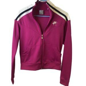 Nike Air Fuschia Crop Zip Up Sweatshirt Jacket S
